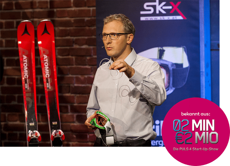"Christoph Rauter from SK-X at the presentation of the optical sports goggles on the Puls4 TV show ""2 minutes 2 million"""