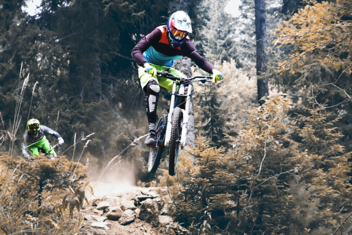 Mountain bike rider in action during the competition with optical MTB goggles from SK-X