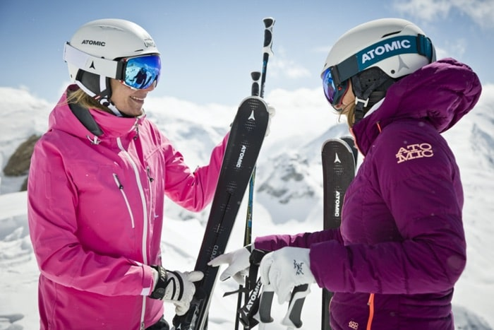 Two skiers with optically glazed ski goggles from SK-X
