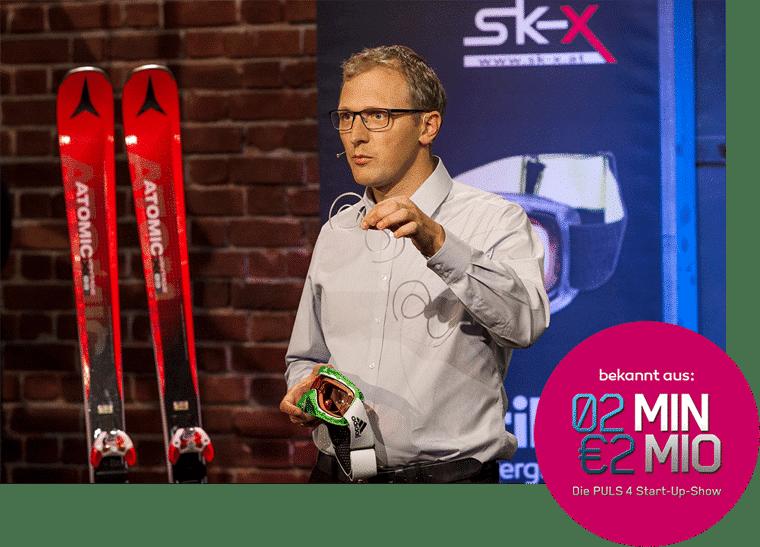 """Christoph Rauter de SK-X lors de la présentation des lunettes de sport optiques sur l'émission de télévision Puls4 """"2 minutes 2 millions"""""""